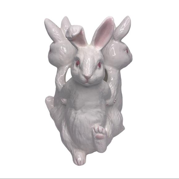 Vintage Ceramic Trio Of Dancing Bunny Rabbits Vase